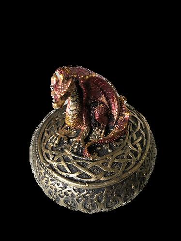 Drachenbox goldfarben mit rotem Drachen