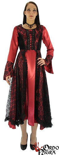 Witch's Dress Middle Age in Rot mit Schwarz