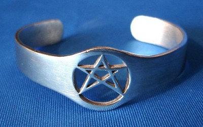Armreif Pentagramm aus Feinzinn