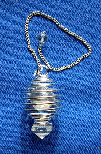 Spiralpendel mit Bergkristall Kugel