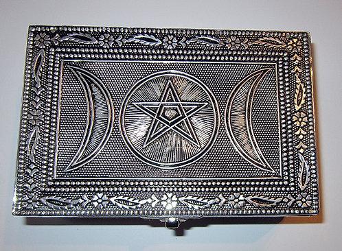 Kästchen Pentagramm mit Triple Moon, Metall