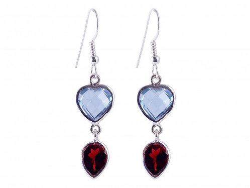 Blau Topas-Granat Ohrringe gefasst in 925er Silber