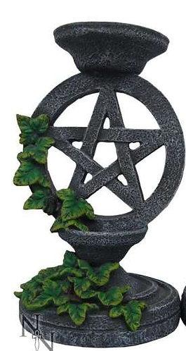 Pentagramm Kerzenhalter in Steinoptik mit Efeu