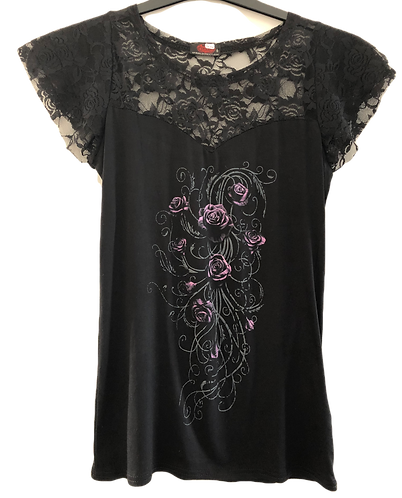 Damen-Spitzen-T-Shirt mit lila Röschen