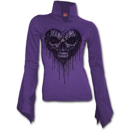 DRIPPING HEART - High Neck Goth Top Purple