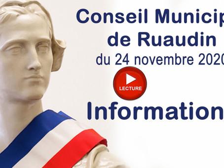 Conseil Municipal de Ruaudin du 24 novembre 2020 en vidéo