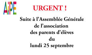 L'association des parents d'élèves a besoin de vous suite à l'assemblée générale