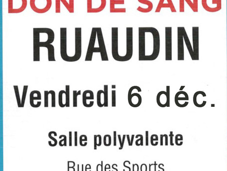 Don de sang à Ruaudin vendredi