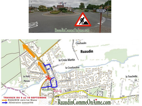 Travaux rond point du Plessis lundi