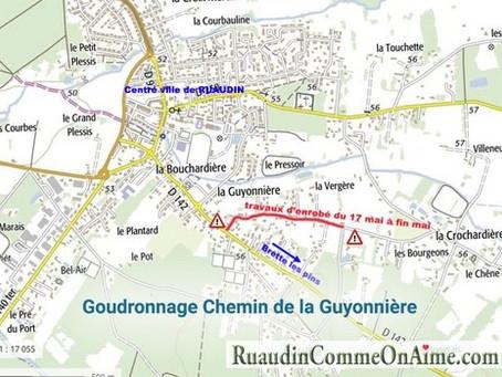 TRAVAUX Chemin de la Guyonnière à partir du 17 mai
