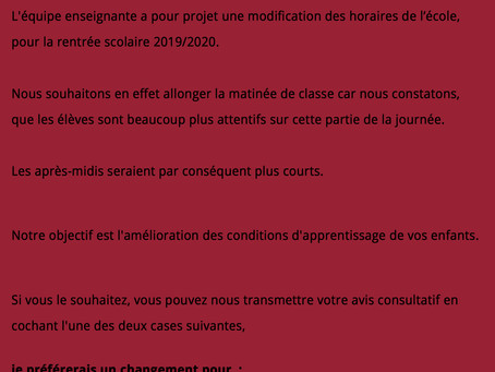 AIPE contre lechangementd'horaires pour la rentrée2019/2020