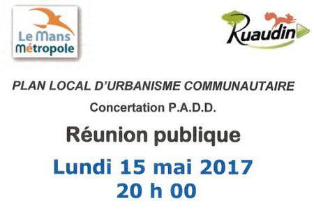 Réunion publique PLU communautairele 15mai 20h00