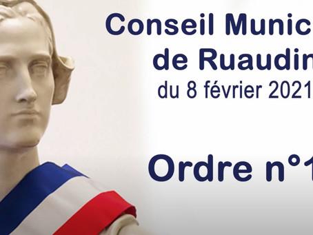 Conseil Municipal de Ruaudin du 8 février 2021 en vidéo - Record en 21 minutes -