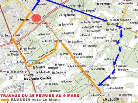 Attention déviation Ruaudin-Le Mans à partir du lundi 26 février