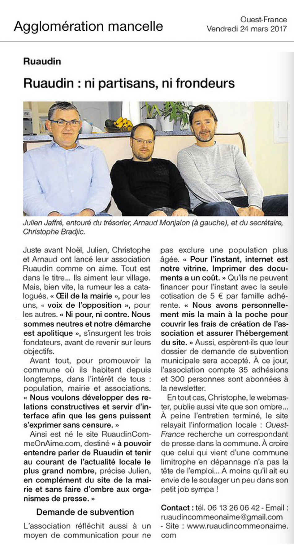Article ouest France 2017