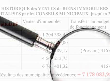 Alerte sur les ventes et impôtsréaliséspar la majorité municipale de Ruaudindepuis 2014