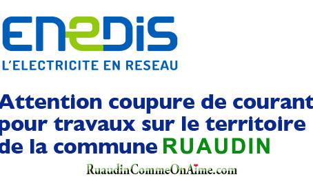 Coupures de courant à RUAUDIN vendredi 16 mars