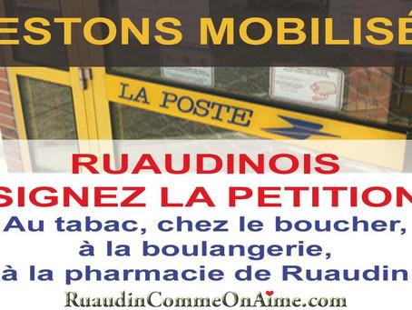 Non à la fermeture de laPoste de Ruaudin: pétition chez de nouveaux commerçants.