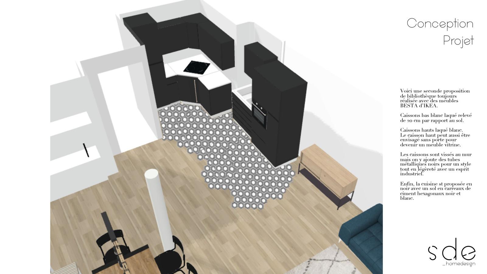Porte Laque Blanc Ikea plan 3d conception cuisine