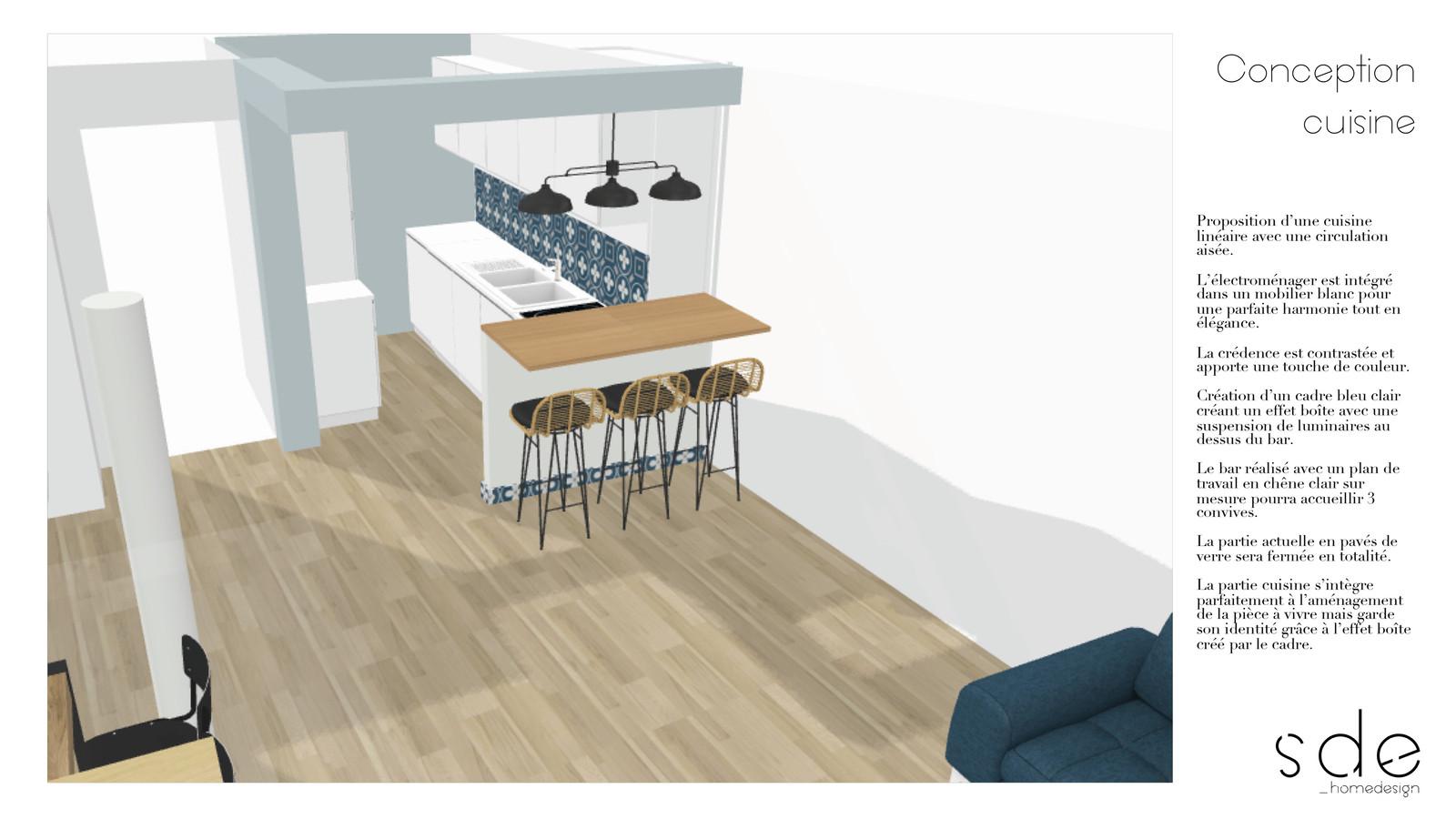 Cuisine Fermée En U plan 3d conception cuisine