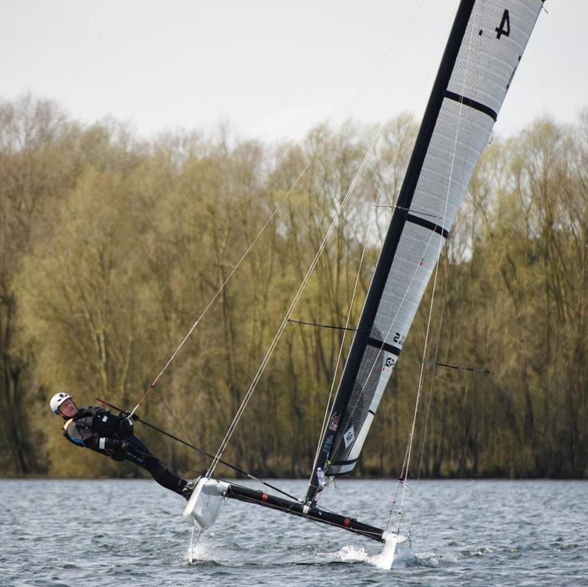 Gordon Upton tries a flat sail.