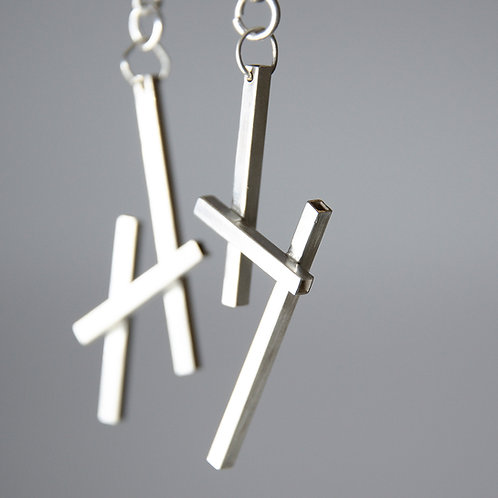 "Silver earrings ""Deconstructive Dance"""