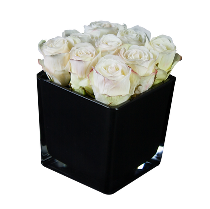 Centre de Table M  9 ROSES BLANC CUBE BK