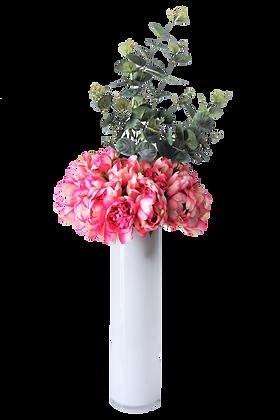 Bouquet PIVOINES L FU Vase verre Blanc