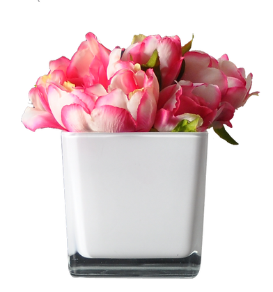 Centre de Table S PIVOINES  FUSHIA CUBE WH