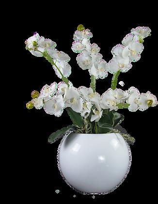 Boule Orchidées M WH Fibre laquée Blanc