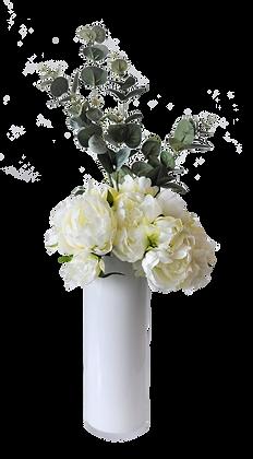Bouquet PIVOINES M WH Vase verre Blanc