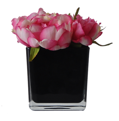 Centre de Table S PIVOINES  FUSHIA CUBE BX