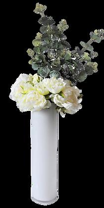 Bouquet PIVOINES L WH Vase verre Blanc