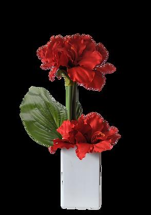 Bouquet AMARYLLIS M RD Vase Céramique Blanc
