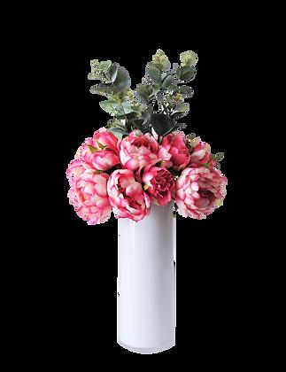 Bouquet PIVOINES M FU Vase verre Blanc