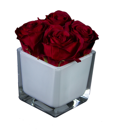 Centre de Table S 4 ROSES ROUGE CUBE WH