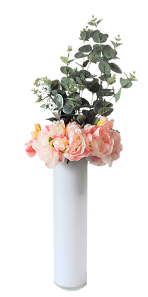 Bouquet PIVOINES L PK Vase verre Blanc