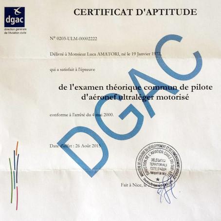 CERTIFICAT D'APTITUDE DGAC: 3DeFFe VOLERA' ANCHE IN FRANCIA!
