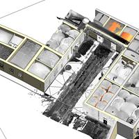 Modellazione BIM direttamente da point-cloud elaborata da rilievo laser scanner. La precisione del rilievo consente la modellazione parametrica di elementi anche molto complessi e non esistenti nelle librerie standard