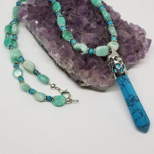 Peru Amazonite and Turquoise Necklace