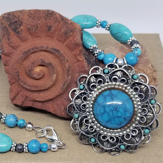 Turquoise and Vintage Pendant Necklace