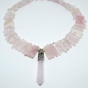 Rose Quartz Freeform Stick Necklace