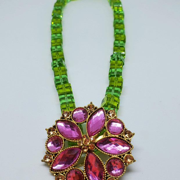 Upcycled Green Glass and Floral Necklace