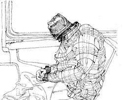 Man w/Stripe Shirt om Subway