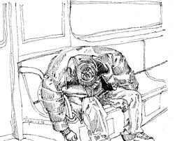 Sleeping Man in Parker on Subway