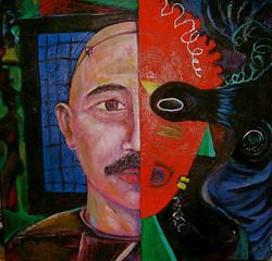Self Portrait Behind Curtain