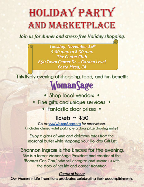 WomanSage Holiday Party and Marketplace | Nov 14th