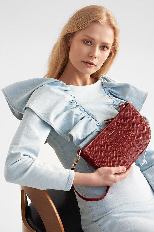 Red Python Half Moon Bag
