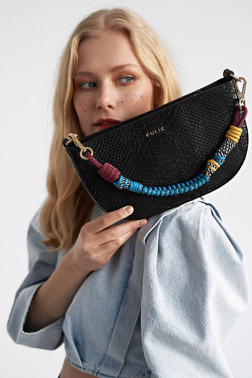 Half Moon handbag  black mamba with twisted belt