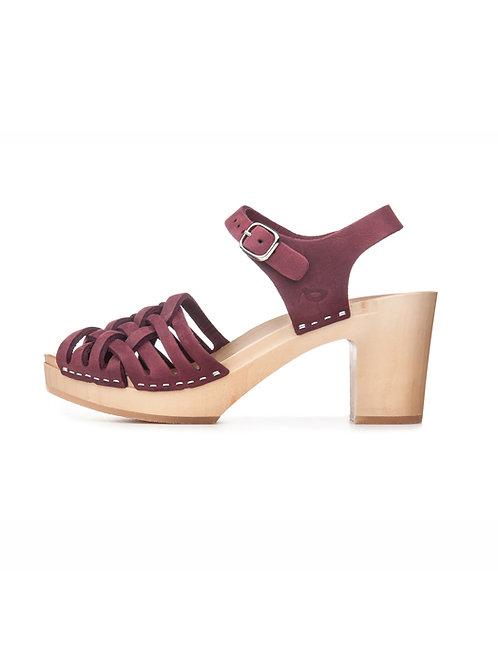 Sandałki KOSZYCZEK ze skóry i drewna